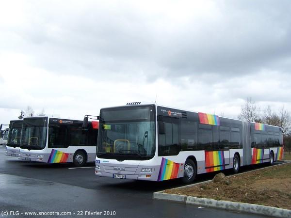 Man Lions City stationnés chez le concessionaire Man à Avrillé fin Février 2010, quelques jours avant leur livraison à Angers Loire Métropole.